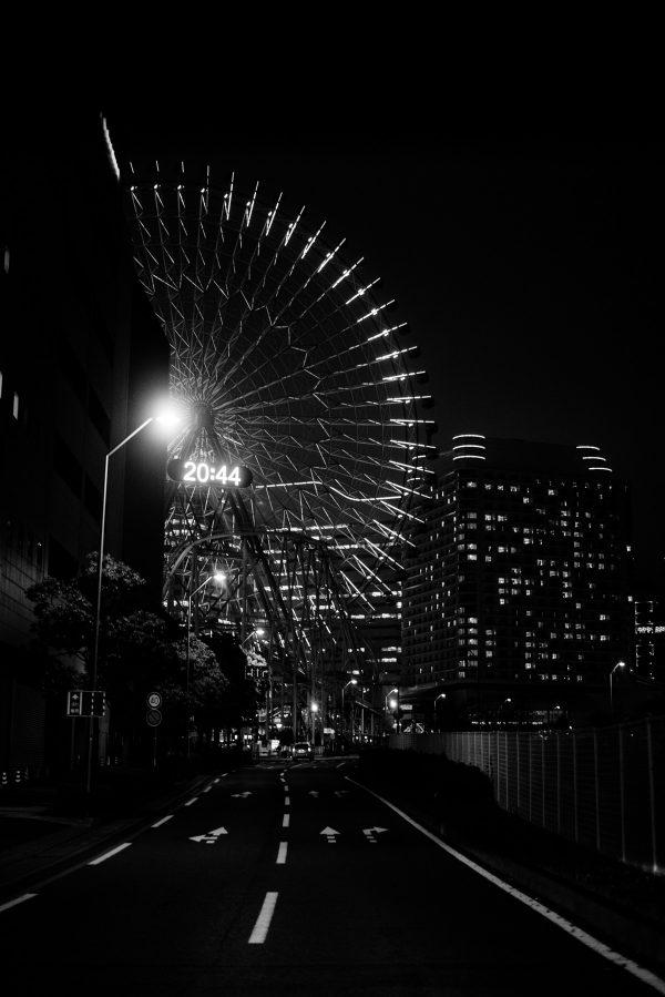 Riesenrad in Tokyo in S/W
