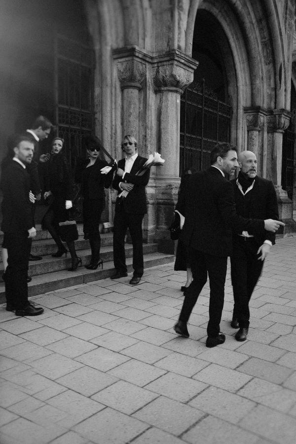 Beerdigung Gruppenportrait in S/W