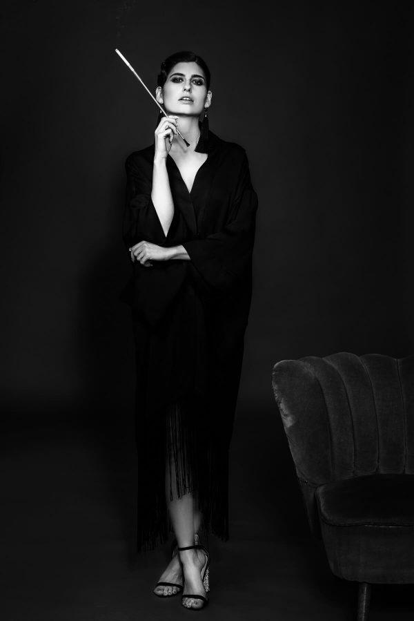 Frau im Kimono 20-er Style Portrait in S/W
