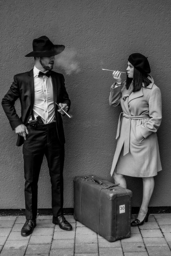 bonnie und clyde rauchen reportage love story s/w