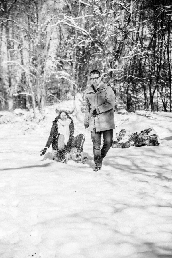 Picknick im Schnee sw